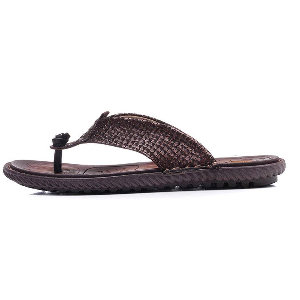 Plus Size Flip Flops Men Cow Leather Non-Slip Quality Man Flats Classical Beach Holiday
