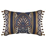 1 Piece 19 X 13 Brown Black Chenille Throw Pillow, Geometric Motif Flower Jacquard Southwest Ikat Floral Damask Pattern Chic Modern Style Accent Pillows Seat Cushion Couch Sofa Bedroom Bed, Polyester