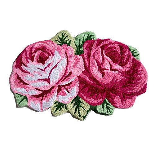 Abreeze 2 Rose Carpet Floor Mat Color Printing Rug Flower Rug Kitchen Area Rugs Modern Living Room Rugs, Pink (Kitchen Mat Pink)