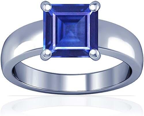 Platinum Princess Cut Blue Sapphire Solitaire Ring (GIA Certificate)