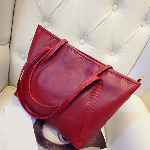 para Piel Mujer de Morehappy7 Vino de Tamaño Negro Mano Bolso sintética tamaño Rojo Libre Color Grande Rosa xq0wIBYw