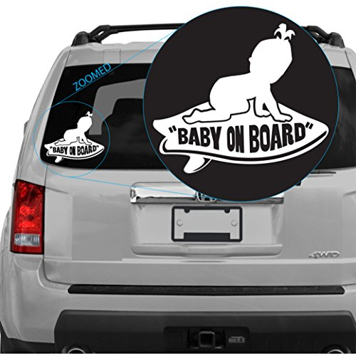Baby on Board Girl Featured on Vans Surfboard Decal Sticker (White) (Sku: 302white6w)