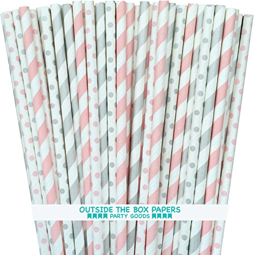 Light Pink and Silver Paper Straws Stripe Polka Dot - 7.75 Inches - 100 Pack - Outside the Box Papers Brand