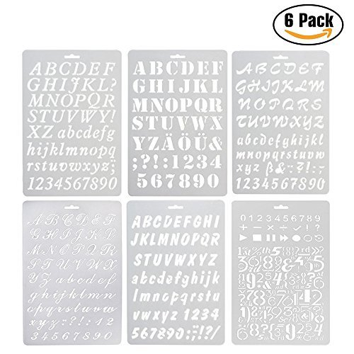 6 Pcs Alphabet Stencil, Plastic Letter Number Templates for Planner/Notebook/Diary/Scrapbook/Journaling/Graffiti/Card DIY Drawing Painting Craft Projects YOUGOO 4336865404