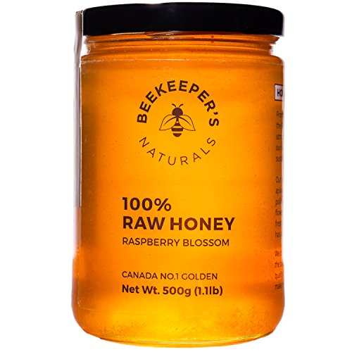Raspberry Blossom Honey by Beekeeper's Naturals | 500g of 100% Raw, Sustainably Sourced Enzymatic Honey | Gluten Free and Paleo Friendly