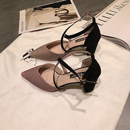 talons hauts à pointe unique Chaussures Printemps creux Croix Sangle Boucle, Rose 39