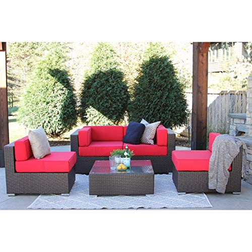 Overstock Selby 5-PC Modern Outdoor Rattan Patio Furniture Sofa Set-Modular Jock red - Gardens Selby