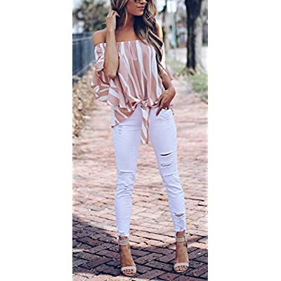 Asvivid Womens Striped Off The Shoulder Tops 3 4 Flare Sleeve Tie Knot Blouses and Tops at Women's Clothing store