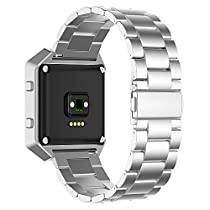 Fitbit Blaze Watch Band, JETech Stainless Steel Band Strap for Fitbit Blaze Smart Fitness Watch - for Both Large and Small Size (Silver) - 2241