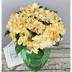 Lannu Artificial Silk Hydrangea Flowers Fabric Floral Natural Fake Hydrangea Flower Wedding Home Flower Wall Decor Pack 2 ... (7 Heads Champagne) 3