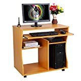 Wooden Portable Computer Trolley Desk Keyboard Storage Shelves with Castor Wheels, Home/Office PC/Laptop Workstation/Table, 31.5'' x 18.9'' x 29.9'' (Wood)