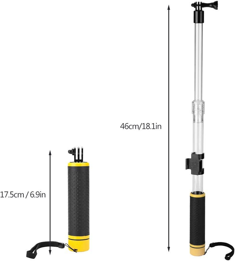 Yoidesu Selfie Stick//Monopod Compatible for GoPro Hero,18 inch Extendable Selfie Stick,Floating Pole,Waterproof Floating Hand Grip for GoPro