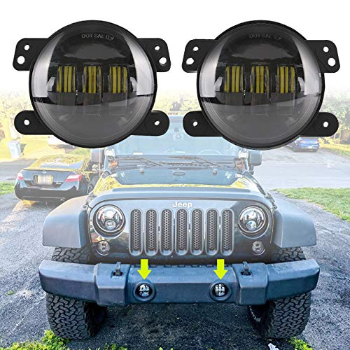 BICYACO LED Fog Lights Fit for Jeep Wrangler JK Unlimited JK 07-18 4 Inch Passing Light 60W White Led Chip Driving Offroad Foglights