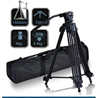 CowboyStudio 62 Pro Video Photo Aluminum Tripod Fluid Pan Head Kit with Handle and Case, FC270A (62inch)