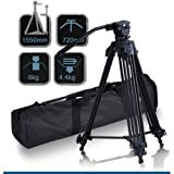 "CowboyStudio 62"" Pro Video Photo Aluminum Tripod Fluid Pan Head Kit with Handle and Case, FC270A (62inch)"