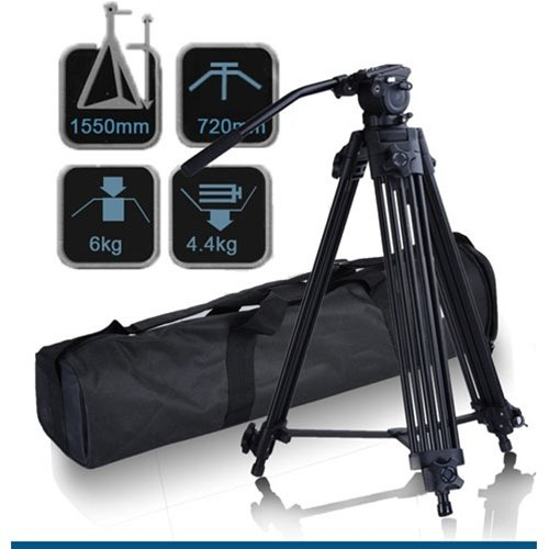 CowboyStudio 74'' Pro Video Photo Aluminum Tripod Fluid Pan Head Kit with Handle and Case, FC270A (74inch) by CowboyStudio