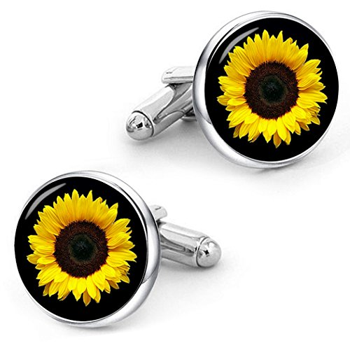 Kooer Sunflower Cufflinks Custom Personalized Cuff Links Vintage Handmade Wedding Cufflinks Daisy by kooer