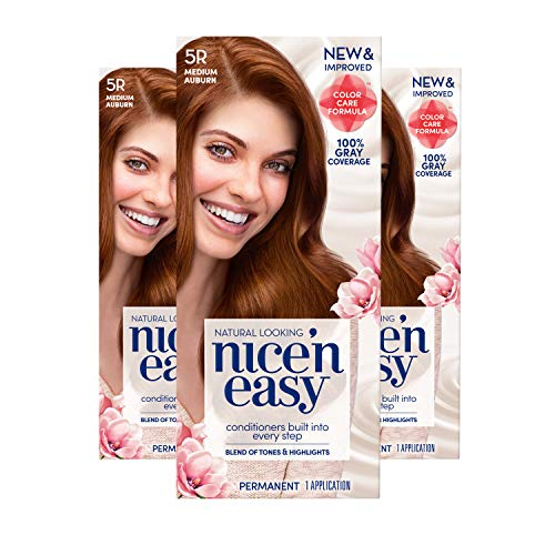Clairol Nice 'n Easy Permanent Hair Color, 5R Medium Auburn, 3 Count Allergy Gentle Single-Step Hair Dye with Conditioners, Natural-Looking Color, Salon Highlights, Grey Coverage