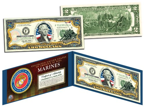 (US MARINES WWII Vintage Genuine Legal Tender Colorized U.S. $2 Bill)