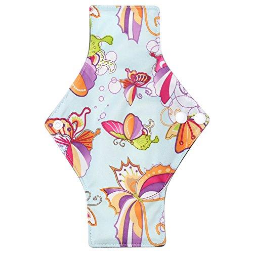 Women Washable Menstrual Pad Bamboo Charcoal Cloth Mama Reusable Sanitary Maternity Towel 9.8 × 7.1 Inch 10 Types (N16)