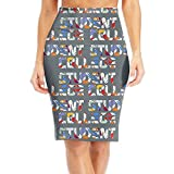 R8e5 Cloth College Student Funny Women Office Fit Skirt High Waist Slim Pencil Skirts
