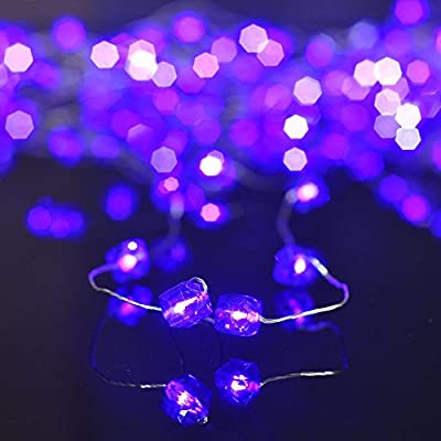 Pansdore 20 LED Battery Operated Acrylic Bead Lights with Timer. Polyhedral Ball String Lights. Sliver Color Ultra Thin Wire. Waterproof Indoor Outdoor Light.