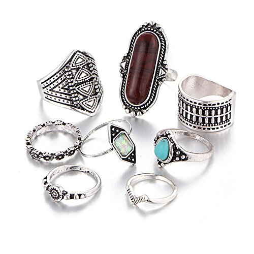 Hanloud Bohemian Knuckle Ring Set Vintage Finger Turquoise Stacking Rings (Fashion Women Rings)