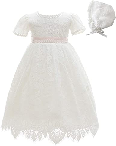 Meiqiduo Baby Girls Lace Christening Baptism Gowns Dresses with Bonnet