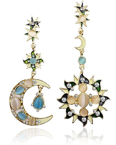 Eternity J. Vintage Retro Princess Palace Royal Court Victorian Circle Hoop Rhinestone Moon Sun Dangle Earring Gothic Baroque Bohemian Drop Earrings