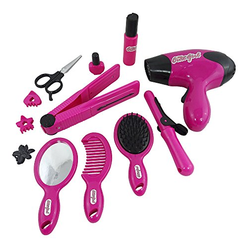 Girls Make Up Toy Pretend Play Cosmetic Set Includes Electric Hair Dryer, Electric Hair Straightner, Curling Iron, Hair Brushes, Mirror And More Brand New In Box