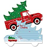 Merry Little Christmas Tree - Shaped Fill-in Invitations - Red Truck Christmas Party Invitation Cards with Envelopes - Set of 12