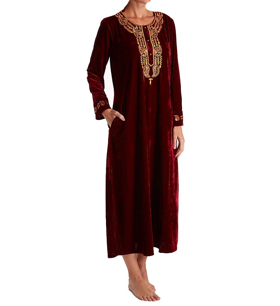 La Cera Embroidered Velvet Caftan (3583) 3X/Wine
