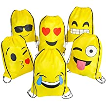 NALAKUVARA Emoji Drawstring Backpack Bags by, 6 Pack Cute Assorted Emoticon Party Favors Supplies Stuff for Kids Teens Girls Boys Gift, 16X13 Inch
