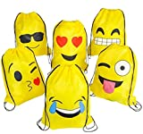 Toys : Emoji Drawstring Backpack Bags by NALAKUVARA, 6 Pack Cute Assorted Emoticon Party Favors Supplies Stuff for Kids Teens Girls Boys Gift, 16X13 Inch
