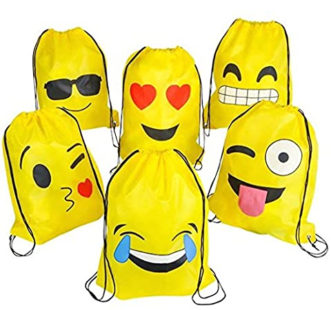 Emoji Drawstring Backpack Bags by NALAKUVARA, 6 Pack Cute Assorted Emoticon Party Favors Supplies Stuff for Kids Teens Girls Boys Gift, 16X13 - Party Gift Bag