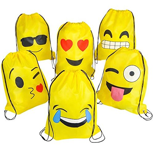 NALAKUVARA Emoji Drawstring Backpack Bags by, 6 Pack Cute Assorted Emoticon Party Favors Supplies Stuff for Kids Teens Girls Boys Gift, 16X13 Inch (Bag Gift Tennis)