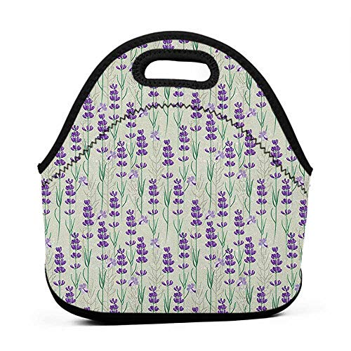 Convenient Lunch Box Tote Bag Lavender,Botanical Pattern with Fresh Herbs Aromatherapy Spa Theme, Pale Sage Green Violet and Green,kipling lunch bag for boys