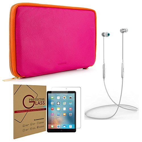 Protector Shield Magenta Case (Tablet Travel Carry-On Organizer + Tempered Glass Screen Protector + White Headphones Apple iPad 1, 2, 3, 4, 5th Gen, 6th Gen, Air & Air 2)