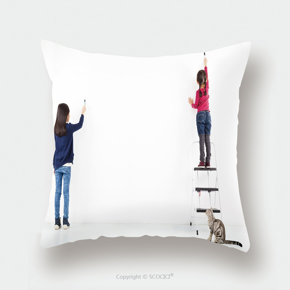 Custom Satin Pillowcase Protector Two Kids Drawing On The Blank White Wall 160166984 Pillow Case Covers Decorative by chaoran