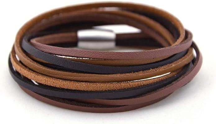 kOmMa5 Leder-Wickelarmband doppelt Brownie braun-schwarz mit Magnetverschluß