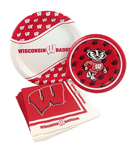 University of Wisconsin Badgers Party Supply Pack! Bundle Includes Paper Plates & Napkins for 8 Guests