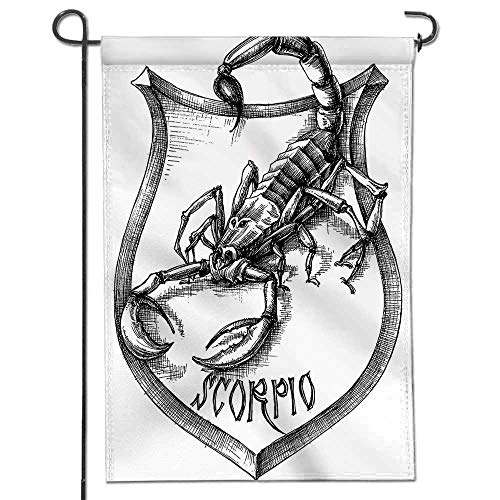 Mikihome Seasonal Garden Flag Black and White Heraldry Zodiac Scorpio Image Graphic with Claws Stars Design Black Double Sided Weatherproof Flags