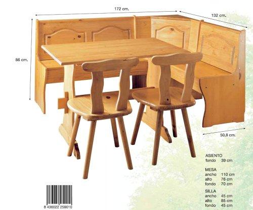 La Factoría Muebles - Conjunto rinconera + mesa + 2 sil ...
