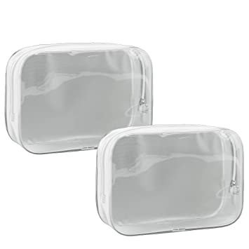 33b166ab99a1 Yuzuo Offical 2 Packs TSA Approved Clear Cosmetic Bags with Durable  Zipper.PVC Material Travel...