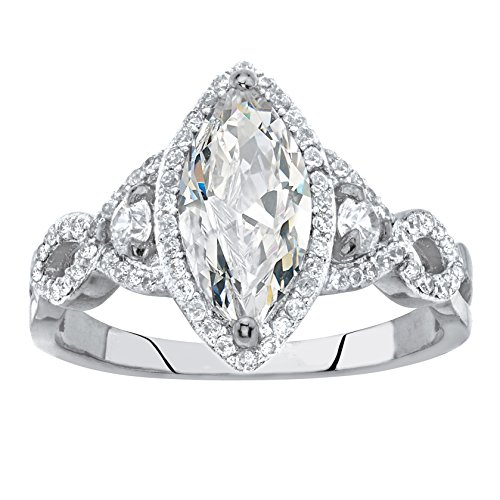 - .925 Sterling Silver Marquise-Cut White Cubic Zirconia Halo Engagement Ring Size 6