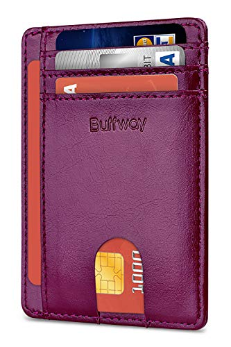 Slim Minimalist Leather Wallets for Men & Women - Alaska Purple (Extra Wide Wallet)