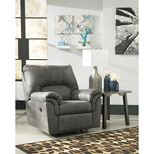 Flash Furniture Signature Design by Ashley Bladen Rocker Recliner in Slate Faux Leather (Sette Furniture)