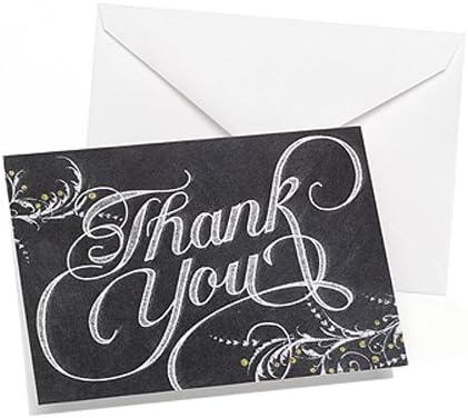 Hortense B Hewitt Silver Foil Thank You Notes 4.8 x 3.5 50 Count