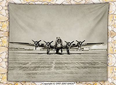 Airplane Decor Fleece Throw Blanket World War II Era Heavy Bomber Front View Stained Old Photo Flying history Takeoff Aeronautics Throw