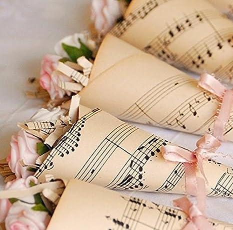 Lote de 50 conos para guardar pétalos o confeti en fiestas o bodas, temática musical, para hacerlos tú mismo: cartulina kraft con partituras musicales, ...